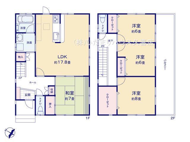 全居室6帖以上♪ 主寝室8帖!大容量収納付き。