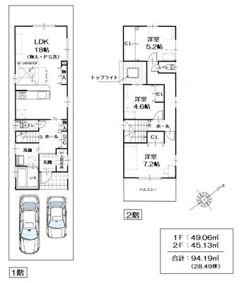 建築プラン例はこんな感じです♪建築条件なしなのでお好きなハウスメーカー様で建築可能!