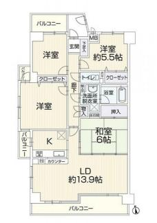 茜部中島 ファミール茜部 現在リフォーム中 中古マンション オートロック完備 キッチンに勝手口あります。