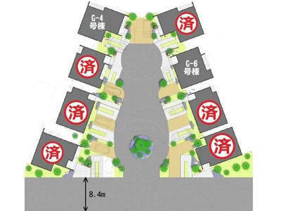 「笠岡サトヤマプロジェクト美の浜」G街区の区画図です。分譲地の真ん中や中央道路にシンボルツリーなどを設け自然と一体になれる分譲地になっています。
