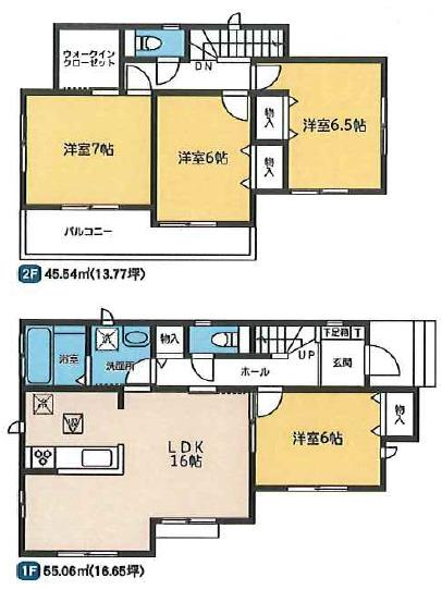 1号棟 4LDK+WIC 全居室フローリングのお部屋です。お掃除もラクラクですよ。