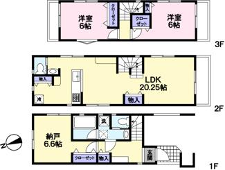 1階部分の6.6帖納戸は洋室同様にお使いいただけます。広々20帖超のLDK。