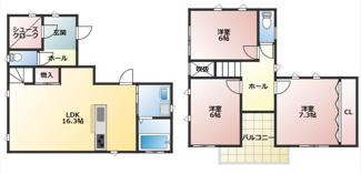 1階に広々したリビングダイニング 2階はそれぞれ角部屋