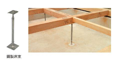 鋼製床束はサビやシロアリを寄せ付けない信頼性の高い支持材を使用しています。