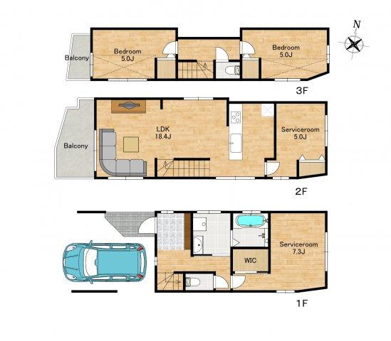 ◇Floor Plan◇4部屋+リビング18帖+車庫付き/建物面積115.33㎡(車庫面積含む)