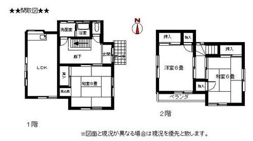 土地面積154.70平米、建物面積73.69平米、ゆとりの間取り3LDK