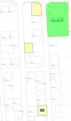 地図は上部が北となっております。他に複数販売区画(黄色部分)がございます。