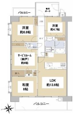 3LDK+S、価格2980万円、専有面積79.10㎡、バルコニー面積15.42㎡、専用ポーチ5.66㎡