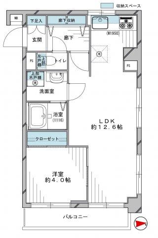 1LDK 専有面積:40.18m²