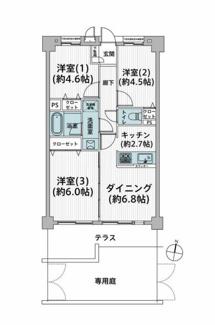 3LDK、価格2380万円、専有面積55.42m2 専用庭付きの開放感のある3LDKの間取りです。 令和3年3月新規リフォーム済みです