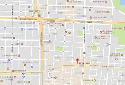 【地図】コンフォート谷町