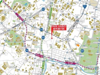 【地図】ディームス麻布狸穴町