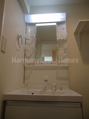 ハーモニーテラス立石Ⅱの独立洗面台、小物を置くことができて便利です(朝シャンできます)☆