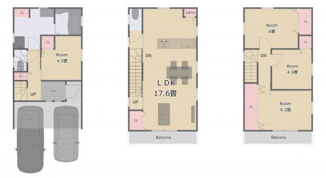 ゆとりある間口の3階建てプラン♪ 自由設計につき間取り変更可能!