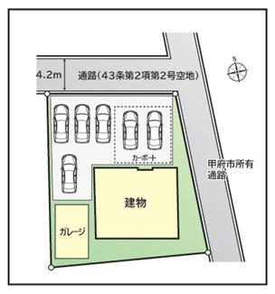 区画図。車6台駐車可能。