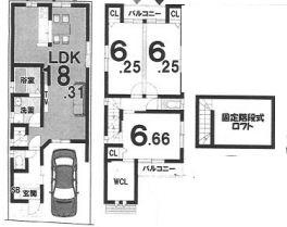 Bプラン: 土地1900万円、建物1599万円、 面積86.77㎡(1F43.03㎡、2F43.74㎡) 木造2階建て、3LDK、駐車場1台、 建築確認申請費用60万円、外構費30万円別途要(税別)