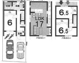 3Fプラン: 土地1900万円、建物1599万円、 建築面積90.72㎡ 木造3階建て、3LDK、駐車場2台、 建築確認申請費用70万円、外構費30万円別途要(税別)