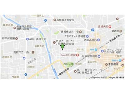 【地図】メゾン高槻 株式会社Roots