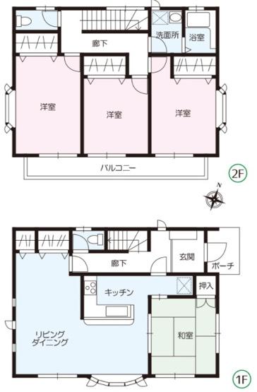 4LDK 2階に洗面所、浴室がある間取りです。