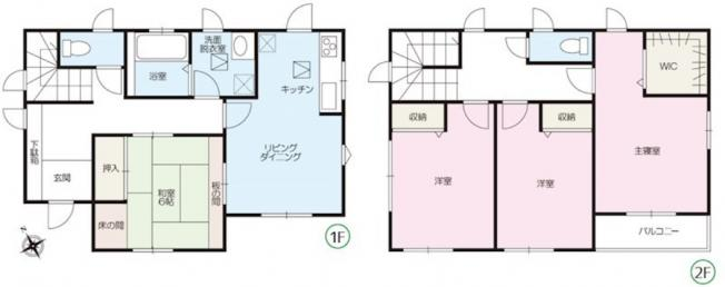 4LDK 寝室にはWIC付♪全居室収納付きでお部屋を広く使えます。