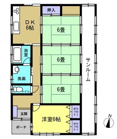 4DK→3LDKに変更します。生活しやすい平屋でサンルームが広い物件です。