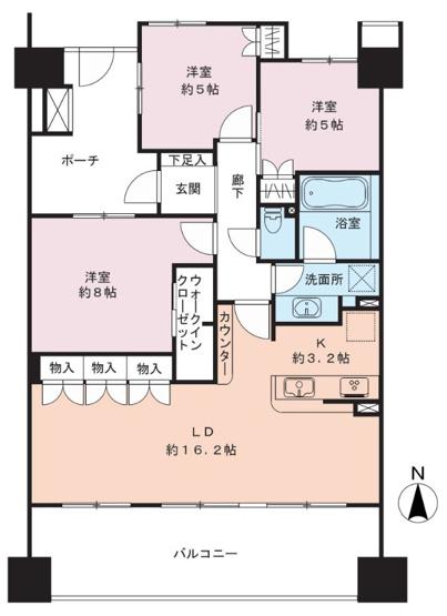3LDK 主寝室約8畳