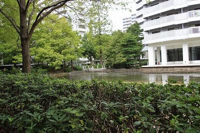 マンション敷地内には、水辺もあり素敵ですね♪