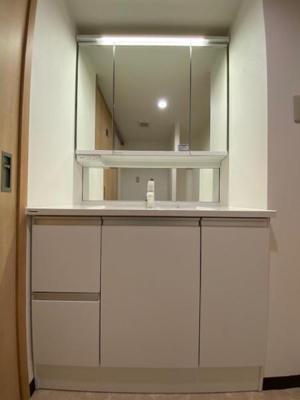 洗面化粧台は収納もたっぷりついており、朝の身支度もスムーズに行えますね♪