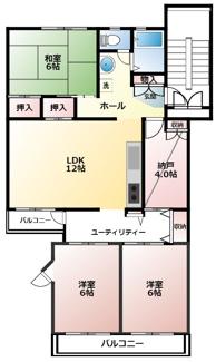 高洲二丁目住宅 12帖と広めのリビングとなっております。