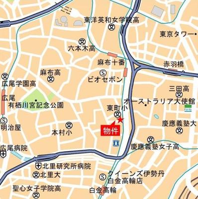 【地図】パークコート南麻布