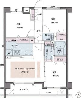 デッドスペースが少ない使いやすい3LDKの間取り♪(62.2㎡) LDKの色塗り部分には床暖房も入っております!