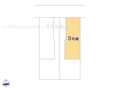 【区画図】名古屋市港区西茶屋1丁目185【仲介手数料無料】新築一戸建て 3号棟