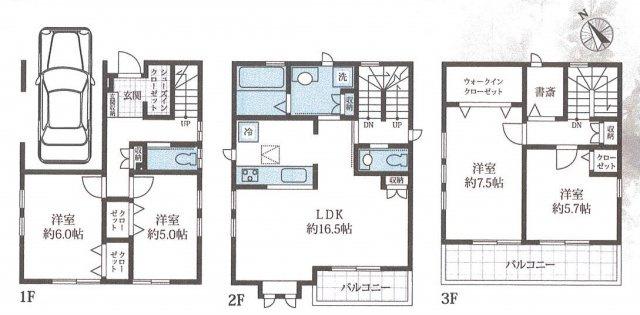 4LDK+書斎+WIC+駐車場 令和3年4月完成予定