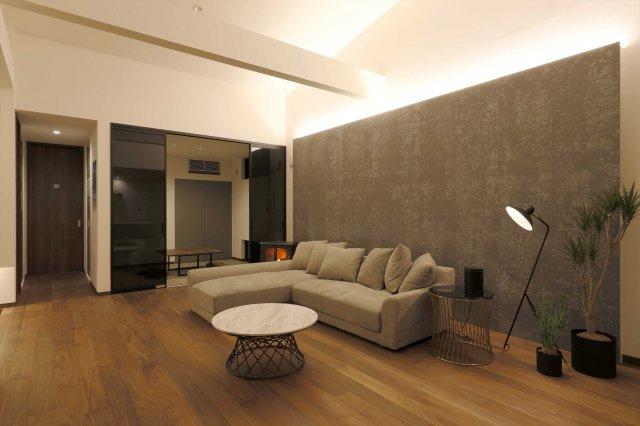 【9号地プラン例②】 落ち着いた雰囲気のリビングはよりゆったりとした空間に。ゆとりを持ちながら家族のだんらんを楽しむことが出来そうですね。建物参考価格1,790万
