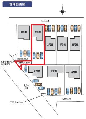 【区画図】カーテンプレゼントキャンペーン実施中♪前橋市東片貝町第2新築一戸建て