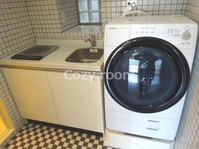 キッチンにドラム式洗濯機も付いてます(^-^) お洒落~