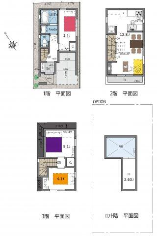 建物プラン例(A区画)3LDK、土地価格4590万円、土地面積38.03m2、建物価格1690万円、建物面積65.24m2