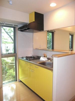 2口ガスコンロ付きシステムキッチンです☆窓があるので換気もOK♪場所を取るお鍋やお皿もすっきり収納できてお料理がはかどります!