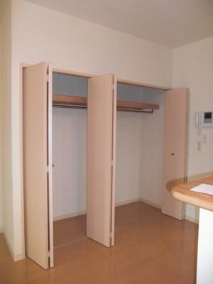洋室15帖のお部屋にあるクローゼットです♪お洋服をたくさんお持ちの方でも安心の収納力です◎