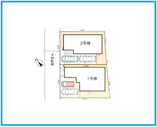 区画図です。玄関収納やウォークインクローゼットなど収納豊富で奥様も納得です。