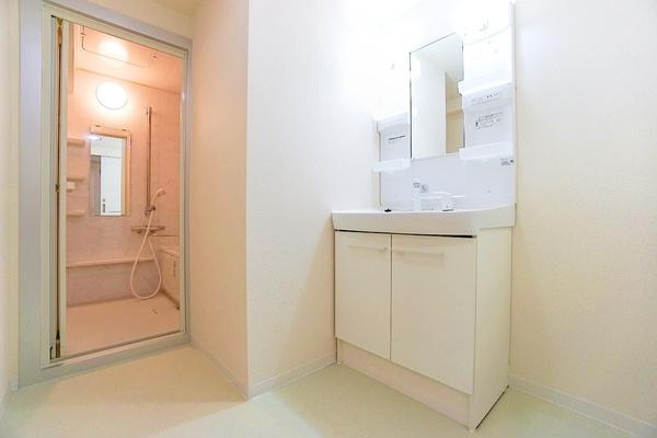 お化粧もしやすい三面鏡付き独立洗面台! 収納もしっかりあり、洗剤などもしまっておけます