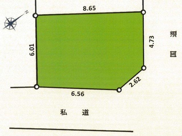 谷津2丁目 売地 更地 建築条件なし 52.1㎡ 東南×北東角地 建ぺい率70%・容積率200%