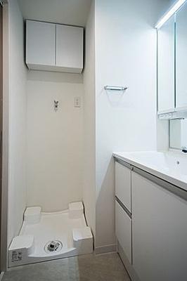 便利な洗濯パン付きのランドリースペース。