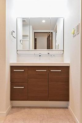 大きな三面鏡、収納付きの独立洗面台です