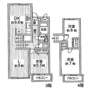 独立性の高い3層メゾネットタイプの3LDKです