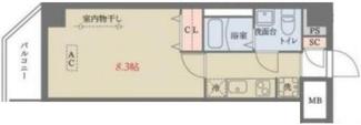 居室とキッチンが別々の1Kタイプの間取りです。