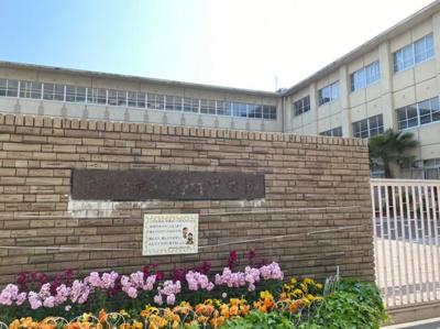 野村中学校です! すぐ隣にあるためお子様の登下校が安心です!