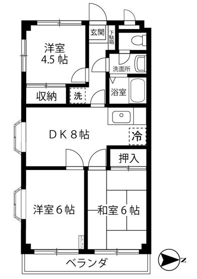 和室と洋室のある3DKタイプ☆小さなお子様がいるファミリーさんにも良いですね!なんと言っても最上階・角部屋・二面採光なのが嬉しい♪