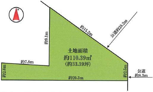 敷地面積 110.39㎡(33.39坪)川崎区 平坦地 建築条件なし お好きなハウスメーカーで建築できます 木造2階建て参考プランあります