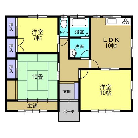 3DK+S(納戸) 積水ハウス施工の軽量鉄骨、生活しやすい平屋建てです。